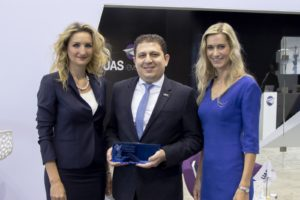 UAS Co-founder and Executive President, Mohammed Husary with Antonia Lukacinova and Zuzana Vaclavova of MEDIA Tribune at EBACE 2016