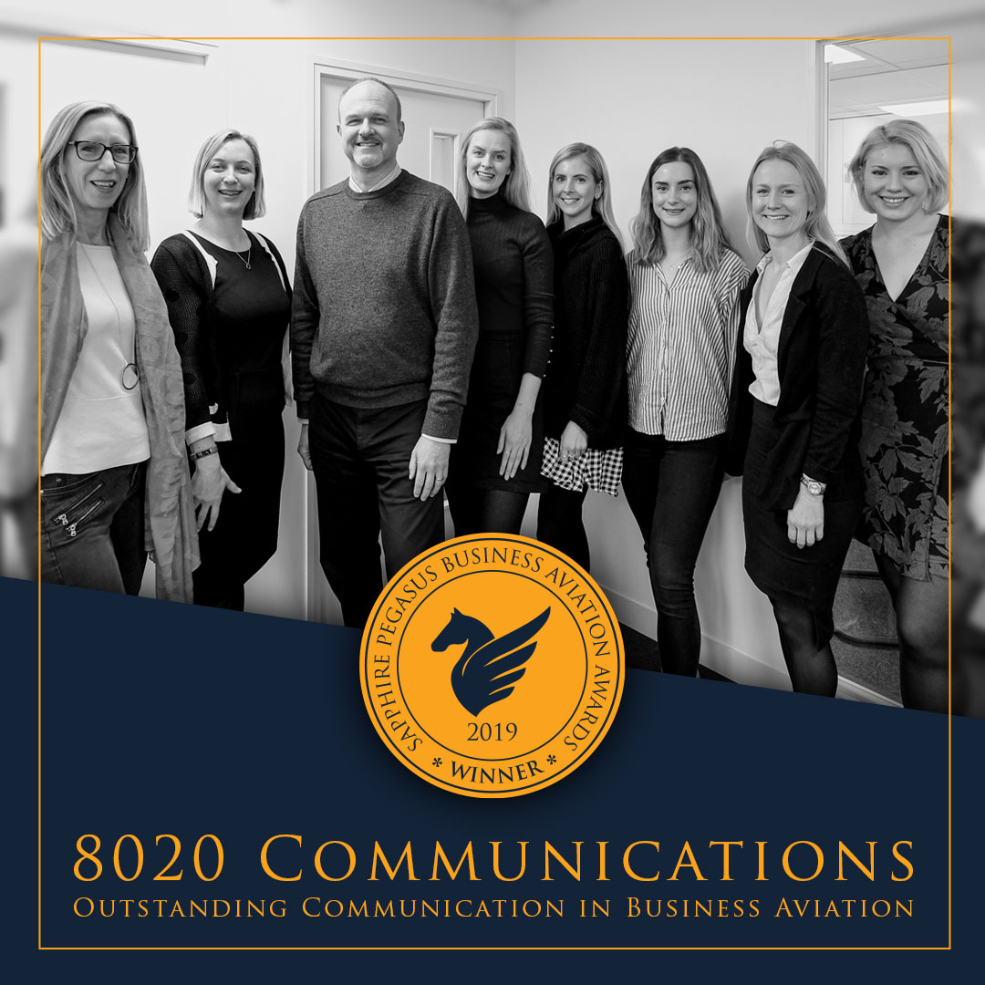 SPBAA 2019 Winner - Outstanding Communication in Business Aviation - 8020